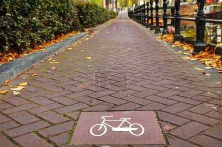 Bicycle lane sign in Amsterdam