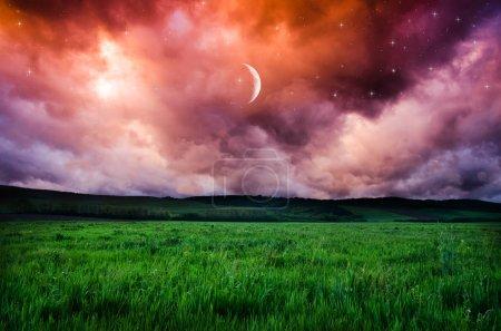 view on orange night sky