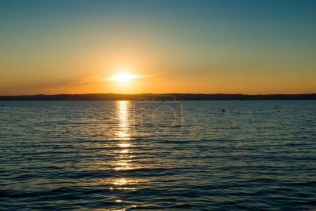 sunset sky above Balaton lake