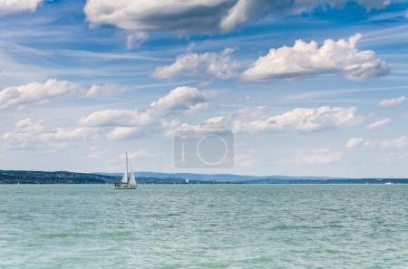 Photo for Ship on beautiful Balaton lake at sunny day, Hungary - Royalty Free Image