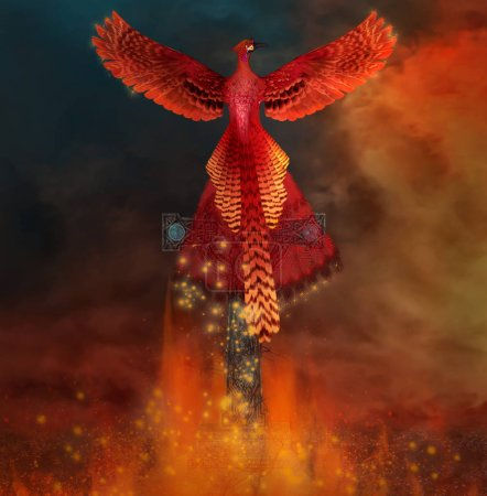 Phoenix on a cross comes back alive from a flame