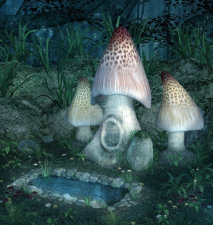 Fantasy enchanted mushrooms near a little lake