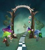 Wonderland series - Fantasy landscape with trellis, mushrooms and welcome banner