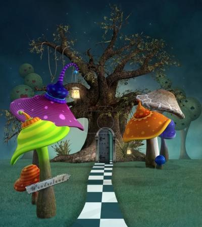 Wonderland series - Footpath with mushrooms, lanterns and tree
