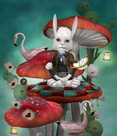 Wonderland series - Rabbit with clock sits on a mushroom in a fantasy scenery inspired by Alice in wonderland fairytale