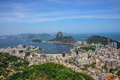 Aerial view of the Sugarloaf mountain and Botafogo bay, Rio de Janeiro, Brazil