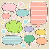 set of cute chat  talk  thought bubbles sticker vector illustration