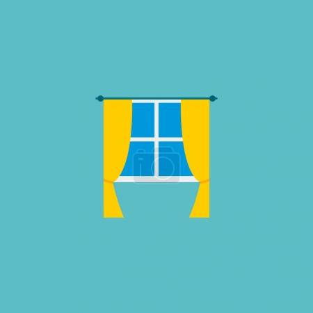 Photo pour Icône de fenêtre élément plat. illustration de l'icône de la fenêtre plat isolé sur fond propre pour la conception de logo de votre application mobile web . - image libre de droit