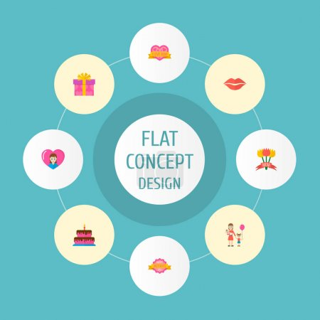 Photo for Happy mothers day icon flat layout design with loving mam, sticker and cake symbols. Lovely mom beautiful feminine design for social, web and print. - Royalty Free Image