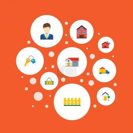 Photo pour Ensemble de symboles plat style icônes immobilier agent immobilier, maison, signe de vente et autres icônes pour votre création de logo web application mobile. - image libre de droit