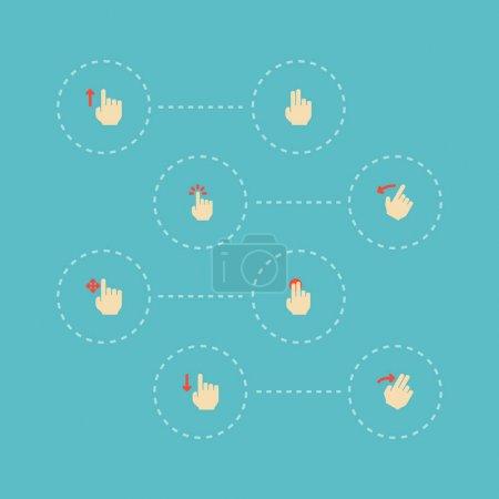 Photo pour Ensemble d'icônes de gestes symboles de style plat avec dessus, doigt, diapositive et autres icônes pour la conception de logo de votre application mobile Web . - image libre de droit