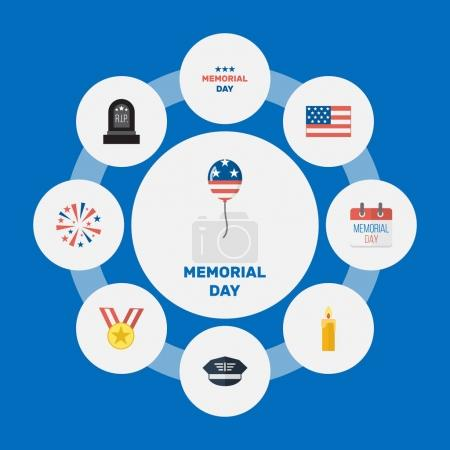 Flat Decoration, Tomb, American Banner And Other Vector Elements. Set Of Day Flat Symbols Also Includes Banner, Sparklers, Military Objects.