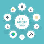 Flat Icons Earth Planet Ram Fishes And Other Vector Elements Set Of Astrology Flat Icons Symbols Also Includes Pisces Goat Optics Objects