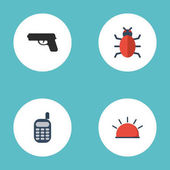 Flat Icons Walkie-Talkie Gun Virus And Other Vector Elements Set Of Safety Flat Icons Symbols Also Includes Trojan Alarm Virus Objects