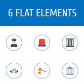Set of crime icons flat style symbols with cop car officer prison and other icons for your web mobile app logo design