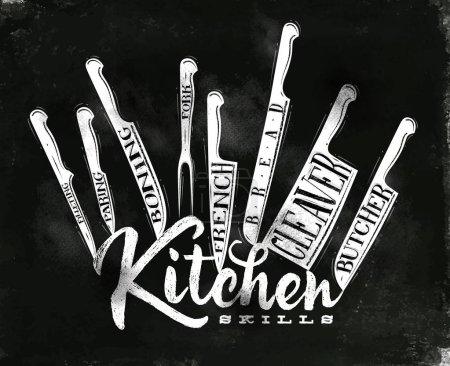 Illustration pour Affiche couteaux de découpe de viande boucher, français, pain, épluchage, fourchette, désossage, fendage, filetage dans un style vintage dessin à la craie sur fond de tableau - image libre de droit