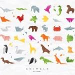 Set of animals color origami nake, elephant, bird,...