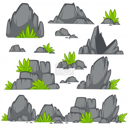 Set of cartoon stones and grass.