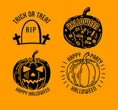 Set of Halloween stylish logos with traditional pumpkins grave and skull Black vector illustration for card invitation and banner Isolated on white background