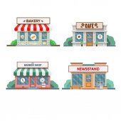 colorful facades of service trades in town