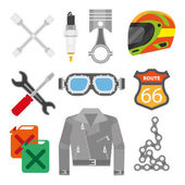 Motorcycle accessories icons: helmet and jacket oil canister chain and spark plug