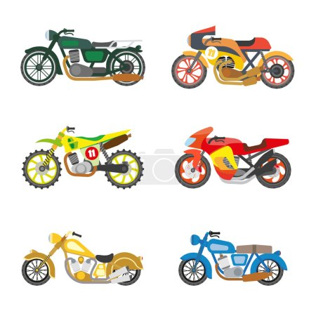 Set of motorcycles icons