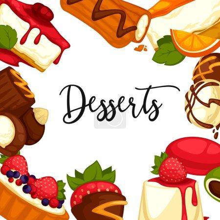 Illustration pour Délicieux desserts sucrés isolés sur fond blanc - image libre de droit