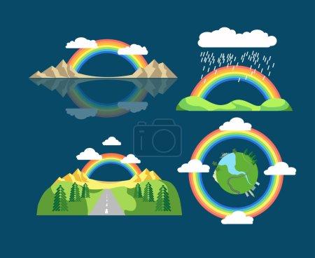 set of flat rainbow icons