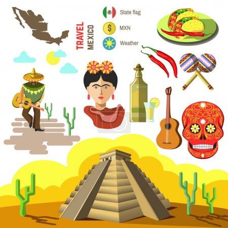 mexico travel symbols set