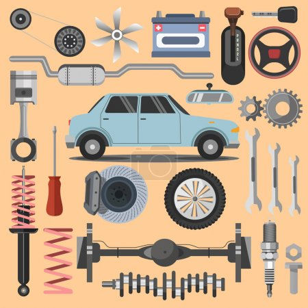 Illustration for Set of equipment for repair of machines on beige background - Royalty Free Image