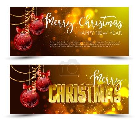Illustration pour Bannières de voeux de Noël avec des boules décorées sur fond bleu abstrait illustration vectorielle - image libre de droit
