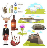 Scotland travel collection isolated on white background