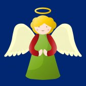 Illustrated angel on blue background vector