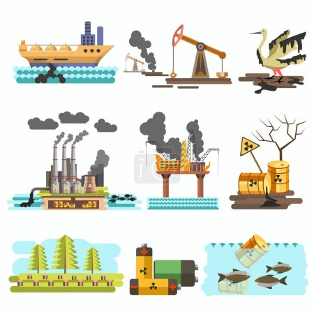 Set with factories and pollution