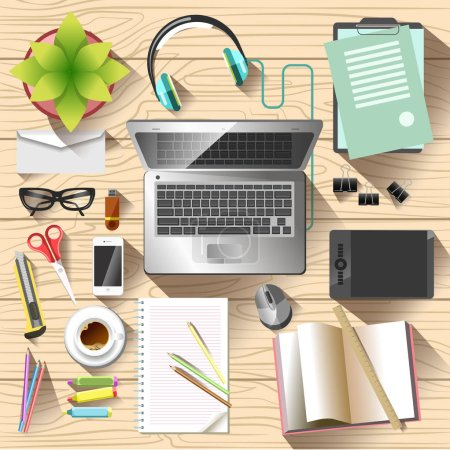 Illustration for Cluttered desktop with laptop, top view - Royalty Free Image