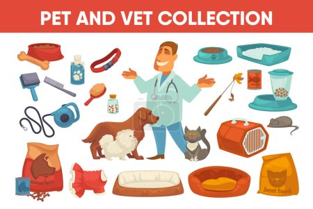Domestic animals and smiling veterinarian