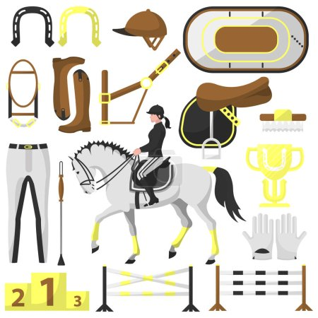 set equipment for riding and equestrian spor
