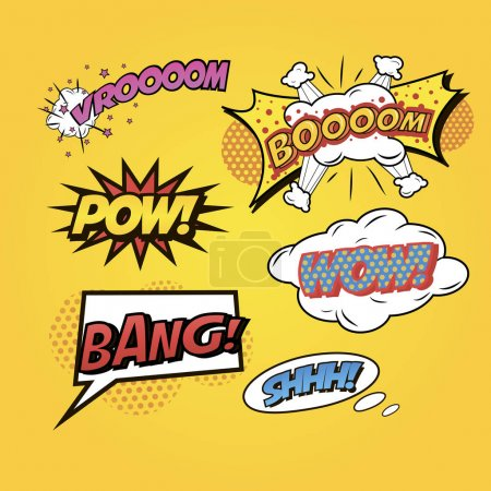Comics speech and exclamations set