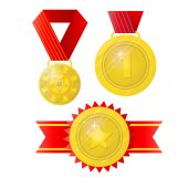 Award Set of trophies medals cup and trophy icons and ribbons for winners in competitions Award Icons in flat style Isolated award illustrations
