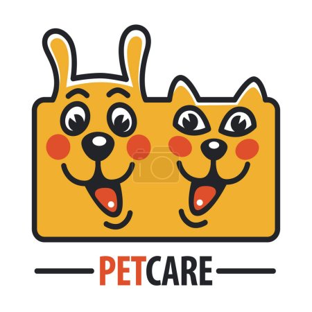 Pet Care Logo with Dog and cat