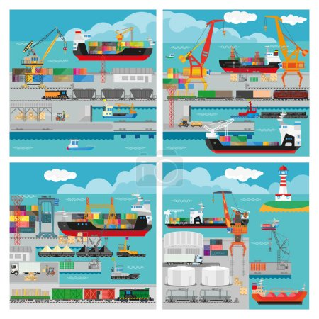 Vector banners with sea transport