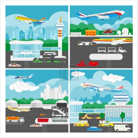 Vector banner of airport landscape