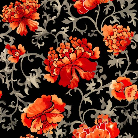 Illustration for Seamless floral pattern, vector illustration - Royalty Free Image