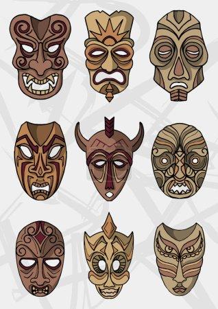 Set of Wooden ethnic or ceremonial masks