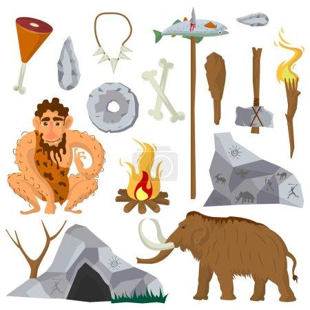 set of stone age flat icons