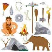 set of stone age flat icons