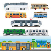 City means of transportation set Types of buses minibuses railroad trains trolleybuses using trolley poles trackless tram school buses and suburban trains Vector illustration of transport cars