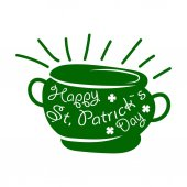 Saint Patrick day symbol of Leprechaun treasure pot and four-leaf clover leaf or lucky shamrock Irish holiday traditional logo design element for vector greeting card text template