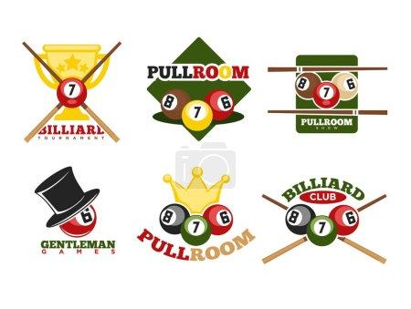 Pool or billiards icons set