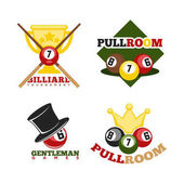Pool or billiards icons set